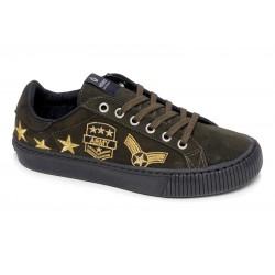 victoria sneakers suédine empiècements - kaki