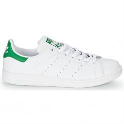 adidas chaussure stan smith - blanc-vert, cuir, tissu