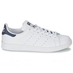 adidas chaussure stan smith - blanc-bleu, cuir, tissu