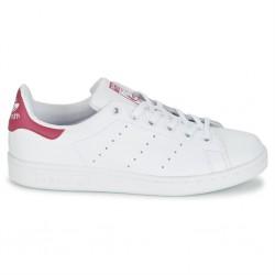 adidas stan smith - blanc-rose, cuir, tissu
