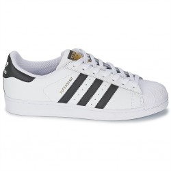 adidas chaussure superstar - blanc noir, cuir, tissu