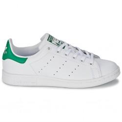 adidas stan smith - blanc-vert, cuir, tissu