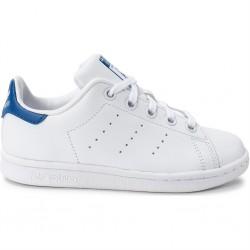 adidas stan smith - blanc-bleu, cuir, tissu