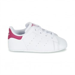 adidas stan smith crib - blanc-rose, cuir, tissu