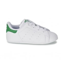 adidas stan smith crib - blanc-vert, cuir, tissu