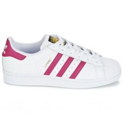 adidas superstar - blanc-rose, cuir, tissu