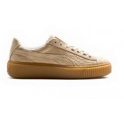 puma suede platform - beige, cuir velours, cuir