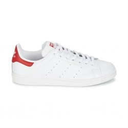 adidas chaussure stan smith - blanc-rouge, cuir, tissu