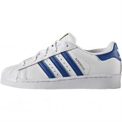 adidas superstar - blanc-bleu, cuir, tissu