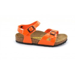 birkenstock rio birko-flor® - orange, synthétique, liege