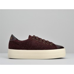 no name plateforme sneakers - bordeaux, cuir/suede, textile