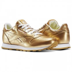 reebok classic leather metallic - or, synthétique, textile