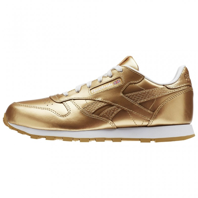 REEBOK CLASSIC CHAUSSURES LEATHER METALLIC - OR CHAUSSURES CLASSIC ADULTES NEUF dd166f