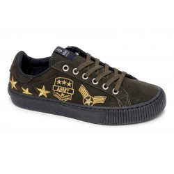 victoria sneakers suédine empiècements - kaki, cuir, tissu
