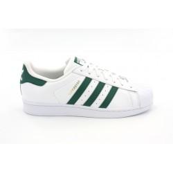 adidas chaussure superstar - blanc-vert, cuir, tissu