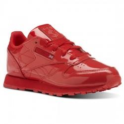 reebok classic leather metallic - rouge, cuir, tissu