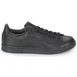 adidas chaussure stan smith - black-black, cuir, tissu