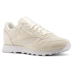 reebok cl leather woven - blanc, cuir/suede, cuir/textile