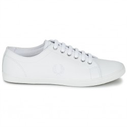 fred perry kingston leather - blanc, cuir, cuir/textile