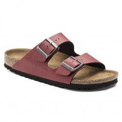 birkenstock arizona birko-flor® sandales - bordeaux, cuir, liege