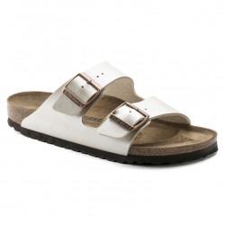 birkenstock arizona birko-flor® sandales - pearl-white, cuir, liege
