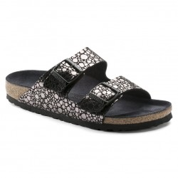birkenstock arizona birko-flor® sandales - stone-black, cuir, liege