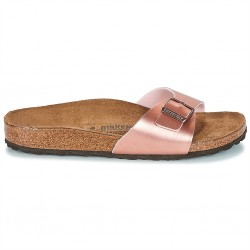 birkenstock mules madrid femme birko-flor® - metal-rose, synthétique, liege