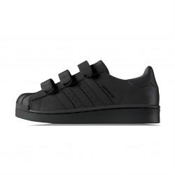 adidas superstar - noir-noir, cuir, tissu