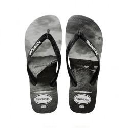 havaianas top photo - blanc-noir, caoutchouc, caoutchouc