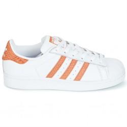 adidas superstar cg5462 - blanc-orange, cuir, cuir/textile