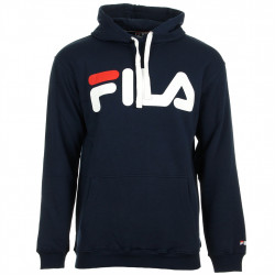 fila classic logo hood kangaroo - bleu, textile, textile