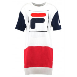fila sky tee dress 2.0 - blanc, textile, textile