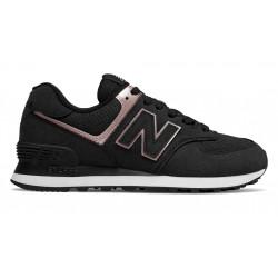 new balance wl574 nbk - noir, cuir/suede, cuir/textile