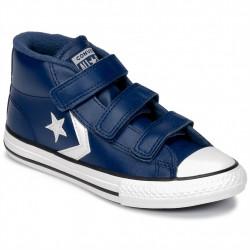 converse 3v mid - bleu, cuir, textile