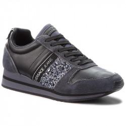 versace stella - gris-strass, cuir/suede, cuir/textile