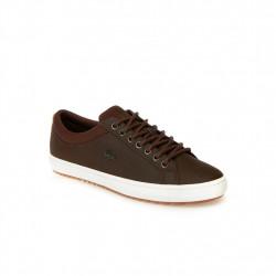 lacoste straightset - marron, cuir, cuir/textile