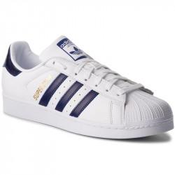 adidas chaussure superstar - blanc-bleu, cuir, cuir/textile
