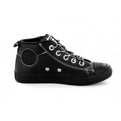 converse ctas street mid - noir, cuir, cuir/textile