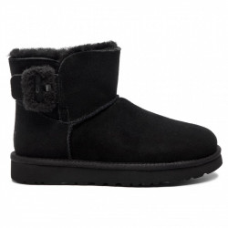 ugg mini bailey fluff buckle - black, mouton, mouton