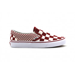 vans slip on mix checker rouge - rouge, toile, toile