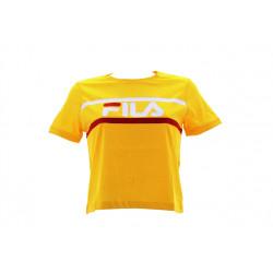 fila ashley cropped tee - jaune, textile, textile