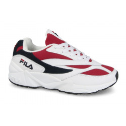 FILA V94M BLANCHE ET ROUGE - OFFSHOES.FR - blanc-rouge, toile, toile