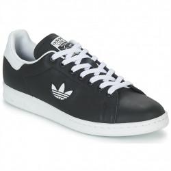 adidas chaussure stan smith - noir-logo, cuir, cuir/textile