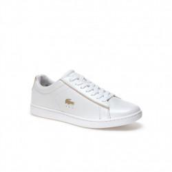 LACOSTE - CARNABY EVO - blanc-or, cuir, cuir/textile