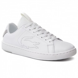 LACOSTE - CARNABY EVO LIGHT - blanc-argent, cuir, cuir/textile