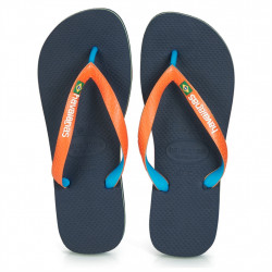 HAVIANAS - HAVAIANAS BRASIL MIX - bleu-orange, caoutchouc, caoutchouc