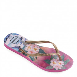 havaianas slim tropical - rose-or, caoutchouc, caoutchouc