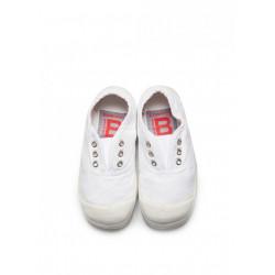 bensimon elly ballerine enfant - blanc, toile, tissu