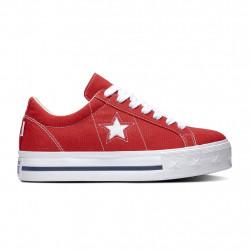 CONVERSE - ONE STAR PLATFORM OX - rouge, textile, textile