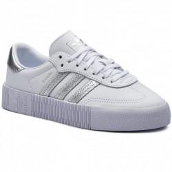 ADIDAS - SAMBAROSE W - - blanc-argent, cuir, textile